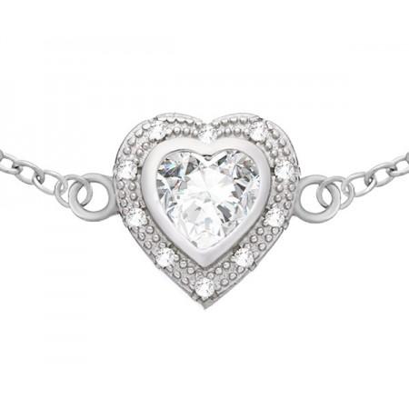 Piękna bransoletka ze srebra 925 z serduszkiem i cyrkoniami.