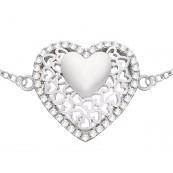 Piękna bransoletka serce z cyrkoniami wykonana ze srebra próby 925.