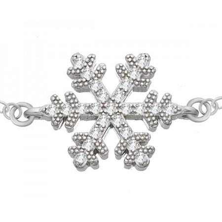 Bransoletka ze srebra 925 płatek śniegu z cyrkoniami.