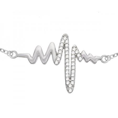 Bransoletka linia życia wykonana ze srebra 925  i ozdobiona cyrkoniami.
