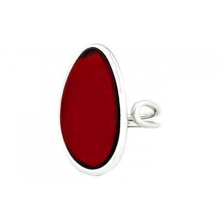 Piękny pierścionek ręcznie oprawiony w minimalistycznym stylu ze srebra 925 z dużym wiśniowym bursztynem.