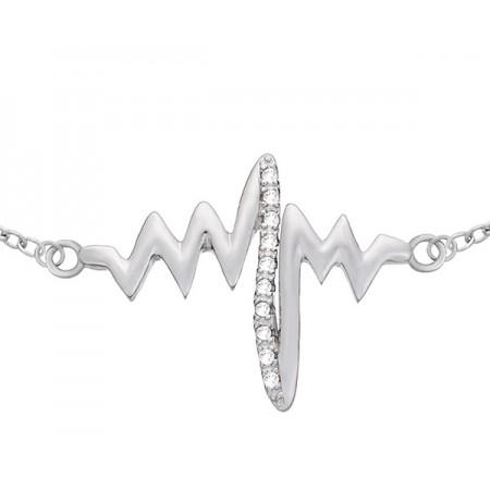 Bransoletka ze wzorem bicie serca ozdobiona cyrkoniami a wykonana ze srebra próby 925.