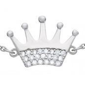 Bransoletka korona z cyrkoniami wykonana ze srebra próby 925
