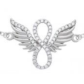 Bransoletka celebrytka ze srebra 925 z zawieszką znak nieskończoności ze skrzydłami ozdobiona cyrkoniami.