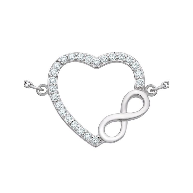 Bransoletka celebrytka serce ze znakiem nieskończoności wykonana ze srebra 925 i ozdobiona cyrkoniami.