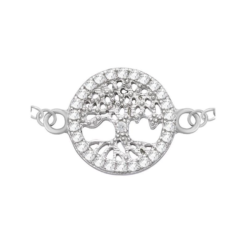 Bransoletka celebrytka ze srebra próby 925 z pięknym elementem drzewka w kółku otoczonym cyrkoniami.