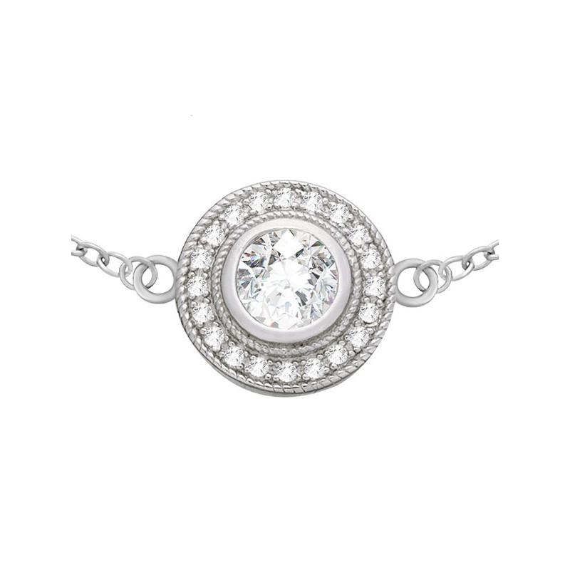 Bransoletka ze srebra próby 925 typu celebrytka z okrągłym elementem zdobionym cyrkoniami.