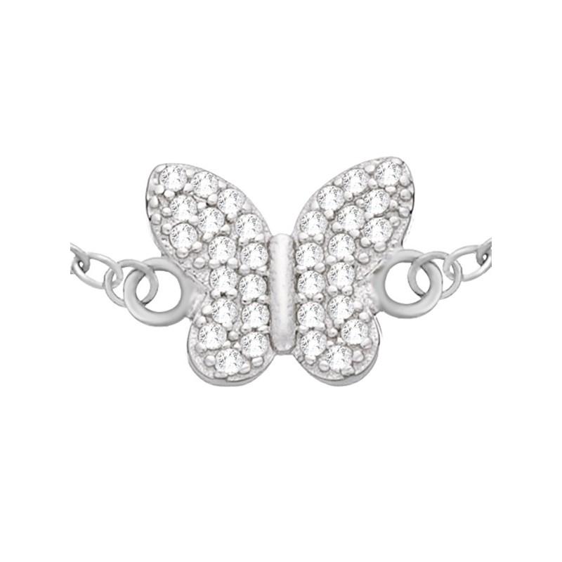 Bransoletka celebrytka wykonana ze srebra 925 z motylkiem wypełnionym cyrkoniami.