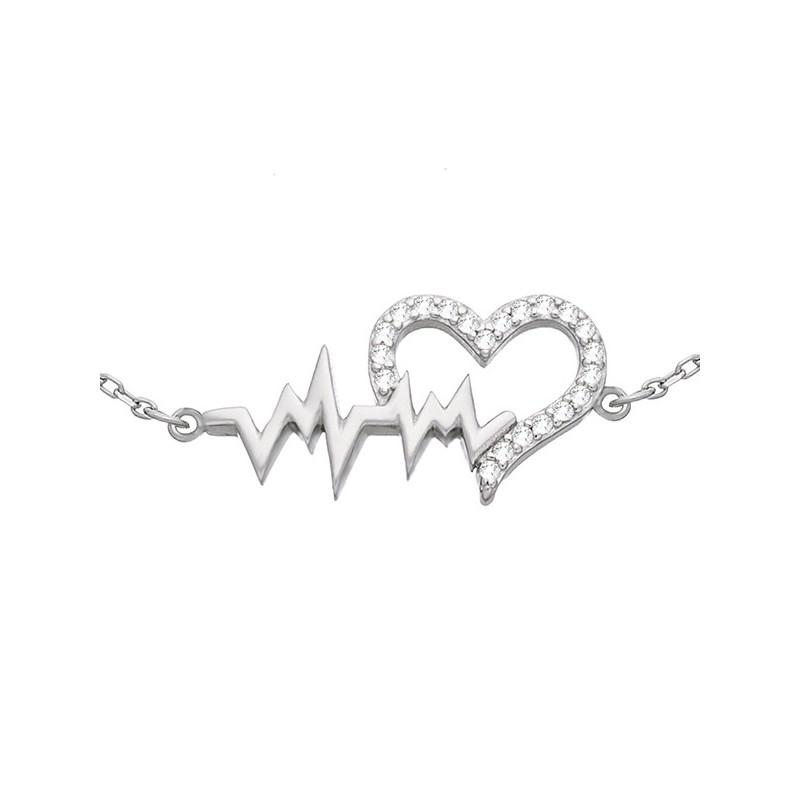 Bransoletka ze srebra 925 z ozdobnym elementem serduszka z cyrkoniami połączonego z linia bicia serca.