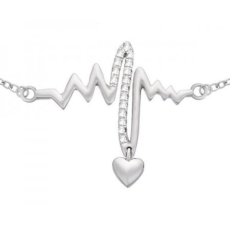 Bransoletka ze srebrna 925 z  zdobionym cyrkoniami elementem linii bicia serca i delikatnym wiszącym serduszkiem.