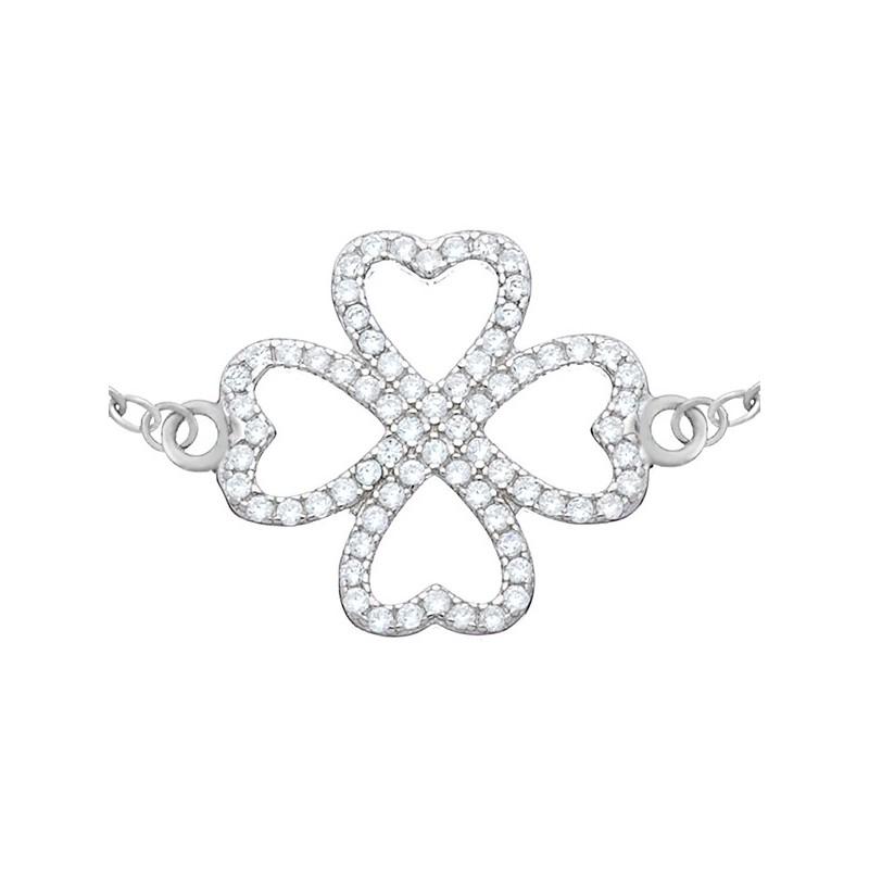 Bransoletka koniczynka wykonana ze srebra 925 i ozdobiona cyrkoniami.