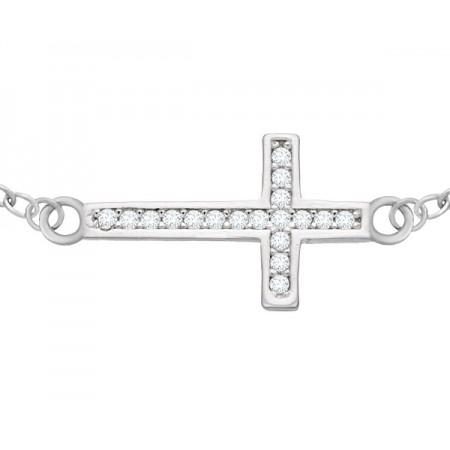 Bransoletka celebrytka krzyżyk z cyrkoniami wykonana ze srebra próby 925.