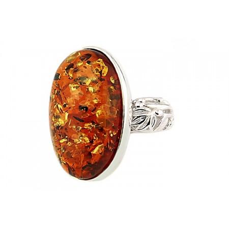 Unikatowy duży pierścionek ze srebra 925 z koniakowym bursztynem.