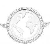 Bransoletka ze srebra 925 z okrągła mapą świata ozdobiona cyrkoniami.