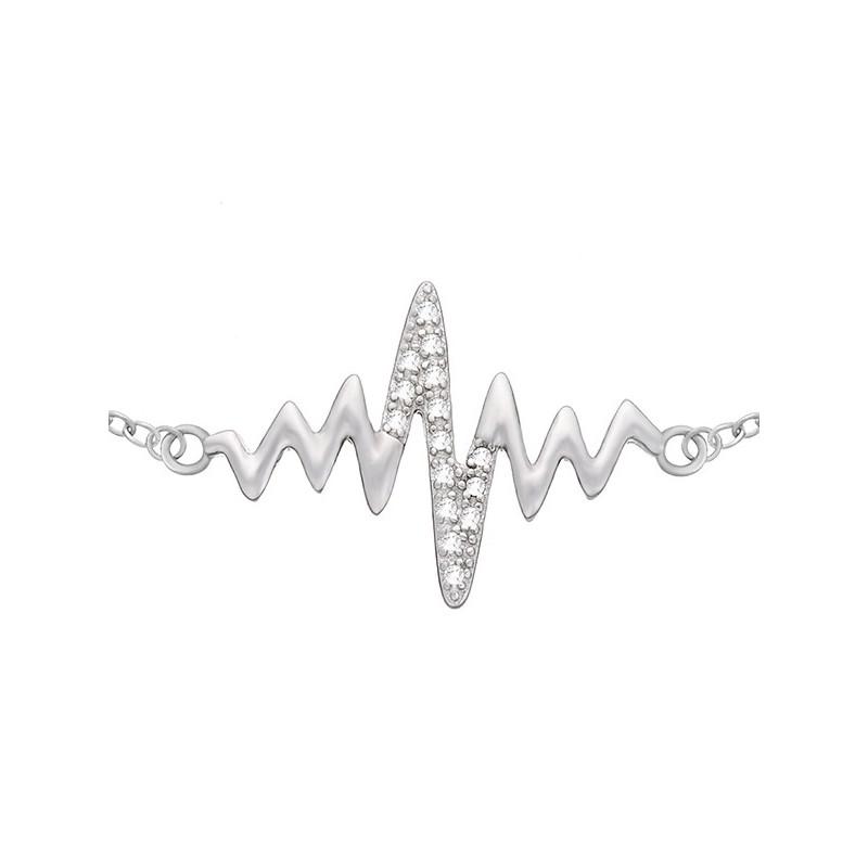 Bransoletka typu celebrytka srebrna 925 z linią bicia serca ozdobionej cyrkoniami.