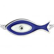 Bransoletka celebrytka srebrna 925 rybka malowana niebieską emalią.