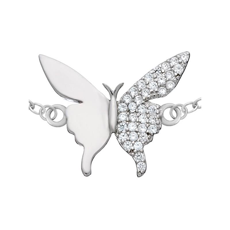 Bransoletka celebrytka ze srebra 925 z motylkiem ozdobionym cyrkoniami.