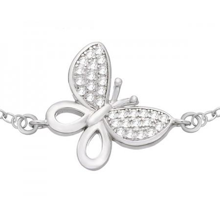 Bransoletka celebrytka wykonana ze srebra 925 z motylkiem i cyrkoniami.