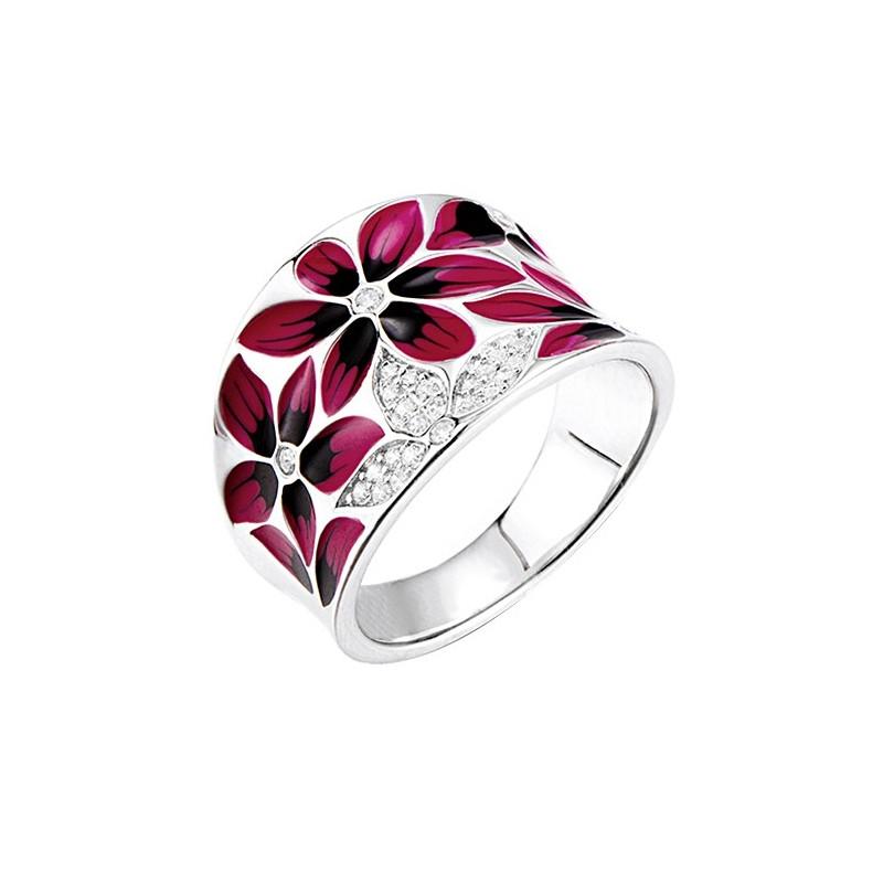 Piękny pierścionek ze srebra 925 z kolorową emalią ręcznie malowana w odcieniach wiszni i cyrkoniami.