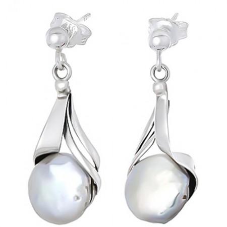 Piękne kolczyki na sztyft z kulką ze srebra próby 925 naturalną perłą.
