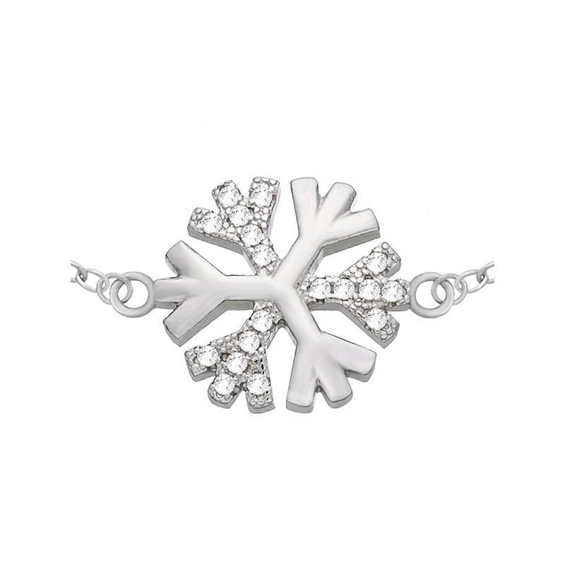 Bransoletka celebrytka z płatkiem śniegu z cyrkoniami wykonana ze srebra 925.