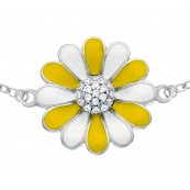 Bransoletka kwiatek margerytka ze srebra 925 malowana emalią.