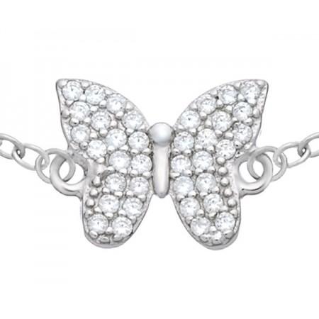 Bransoletka celebrytka motylek z cyrkoniami wykonana ze srebra 925.