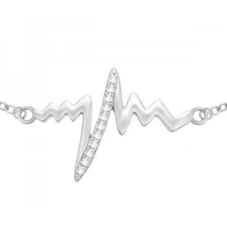 Bransoletka celebrytka ze srebra 925 ze zdobionym cyrkoniami wzorem bicia serca.