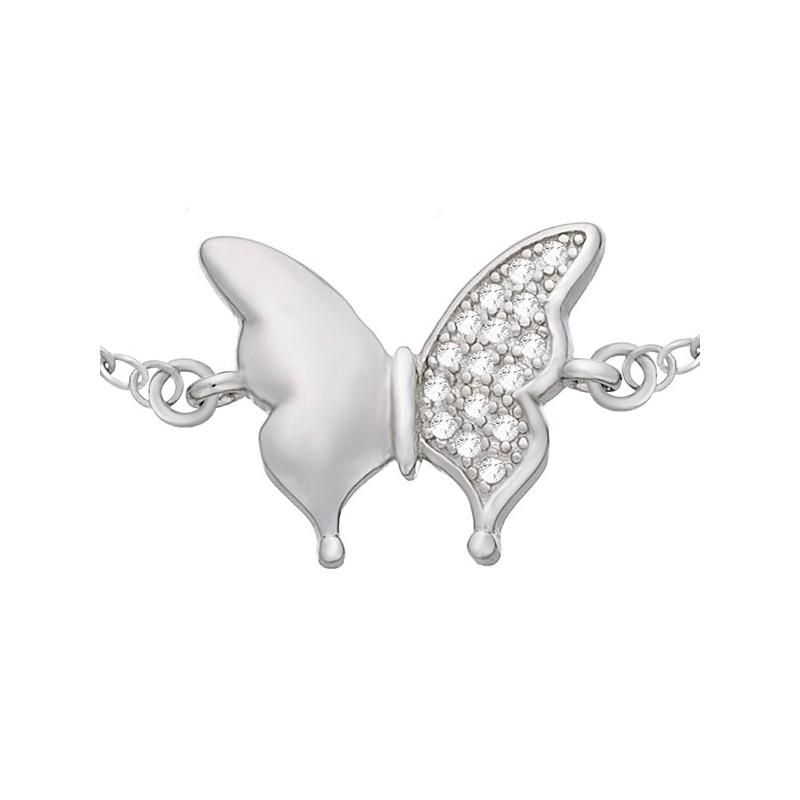 Bransoletka typu celebrytka ze srebra 925 motylek z cyrkoniami.