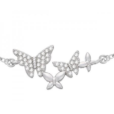 Bransoletka srebrna 925 z czterema motylkami ozdobionych cyrkoniami.