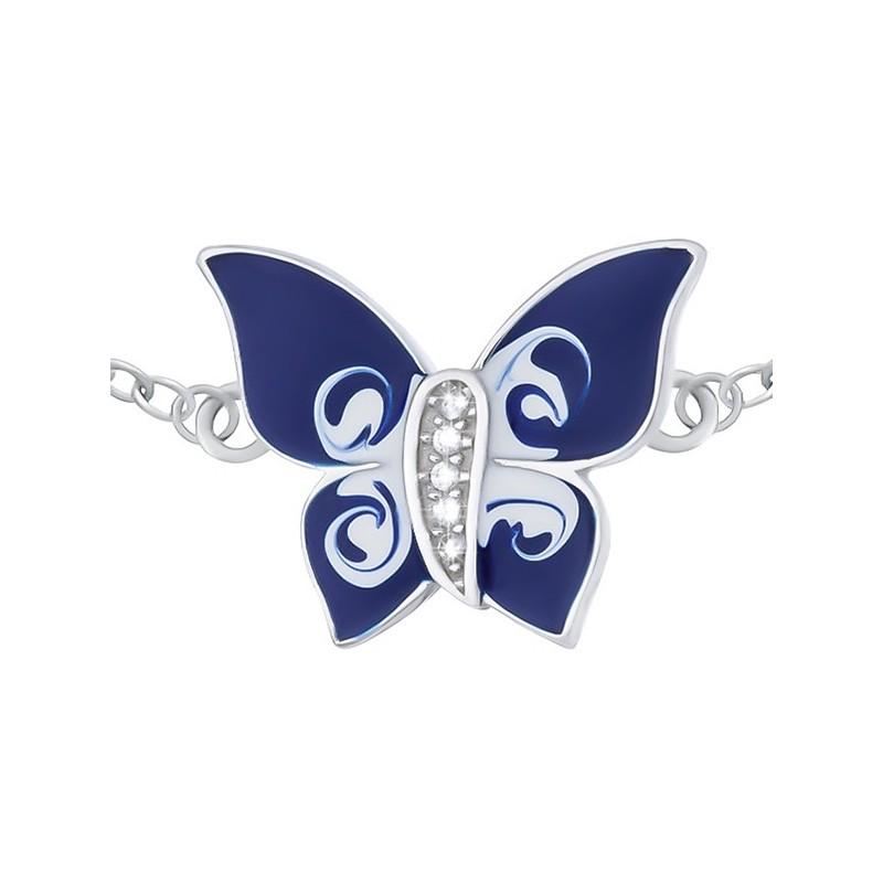 Bransoletka srebrna 925 motyl celebrytka malowana emalią i ozdobiona cyrkoniami.