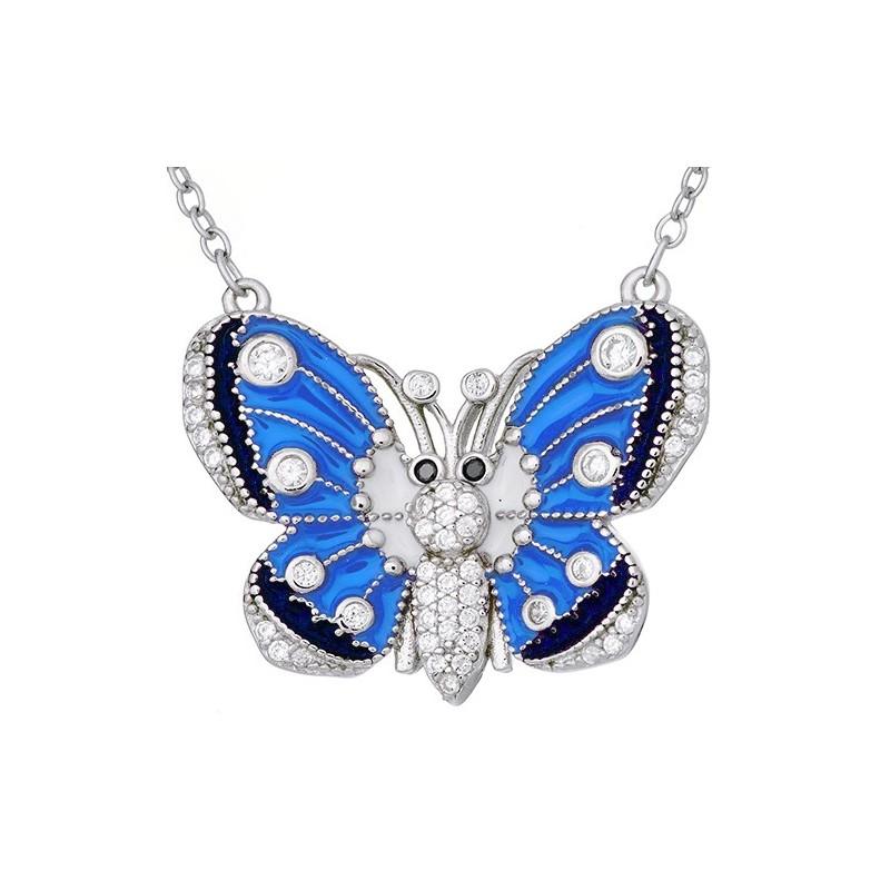 Naszyjnik ze srebra 925 z zawieszka w kształcie dużego motyla z kolorową emalią i cyrkoniami.