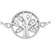 Bransoletka ze srebra próby 925 drzewko szczęścia  celebrytka z cyrkoniami.
