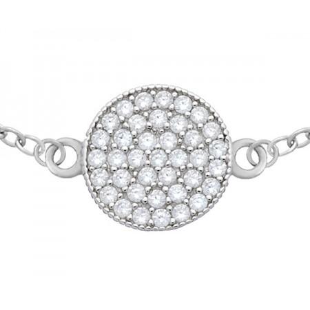 Bransoletka srebrna 925 okrągła celebrytka wypełniona cyrkoniami.