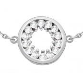 Bransoletka ze srebra 925 typu celebrytka z okrągłym zdobieniem z cyrkoniami.