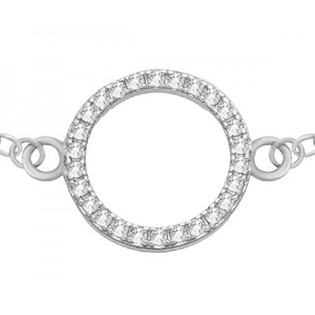 Bransoletka celebrytka ze srebra 925 z kółkiem ozdobionym cyrkoniami.