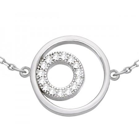 Bransoletka celebrytka ze srebra 925 z okrągłym elementem ozdobionym cyrkoniami.