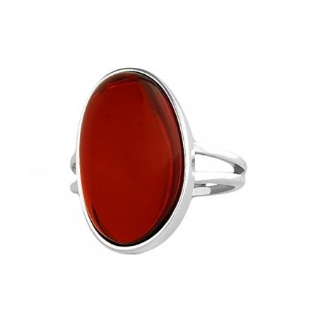 Unikatowy pierścionek ze srebra 925 z dużym naturalnym bursztynem w pięknej wiśniowej barwie.