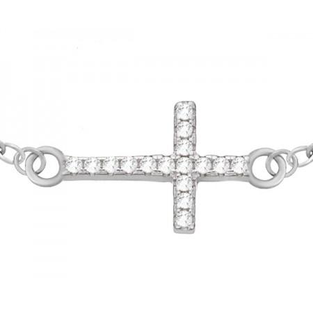 Bransoletka srebrna 925 krzyżyk celebrytka z ozdobiony cyrkoniami.