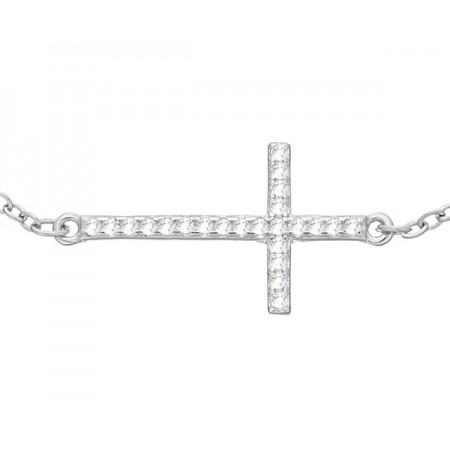 Bransoletka srebrna 925 krzyżyk celebrytka ozdobiony cyrkoniami.