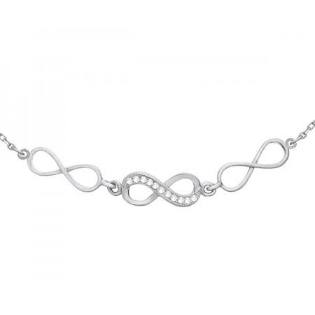 Bransoletka srebrna 925 celebrytka ozdobiona  cyrkoniami z trzema znakami nieskończoności.