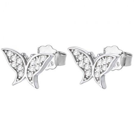 Piękne kolczyki motylki na sztyft ze srebra próby 925 z cyrkoniami.
