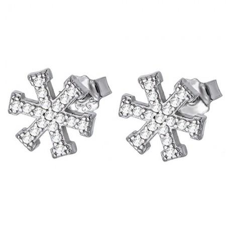 Piękne kolczyki na sztyft ze srebra próby 925 o kształcie płatków śniegu z cyrkoniami.