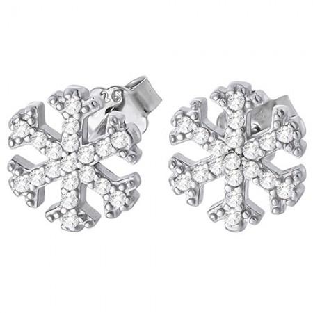 Piękne kolczyki na sztyft ze srebra próby 925 w kształcie płatków śniegu cyrkoniami.