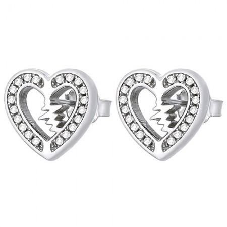 Piękne kolczyki na sztyft ze srebra próby 925 w kształcie serduszka z linia życia w środku i cyrkoniami.