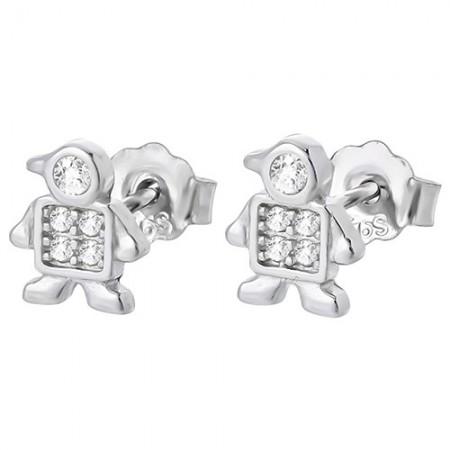 Piękne kolczyki na sztyft ze srebra próby 925 przypominają chłopczyka z cyrkoniami.