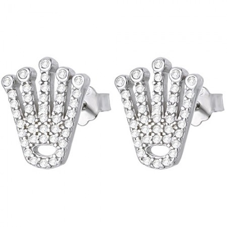 Piękne kolczyki na sztyft ze srebra próby 925 w kształcie korony z cyrkoniami.
