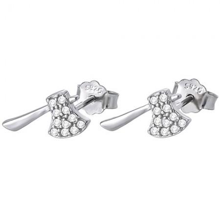 Piękne kolczyki na sztyft ze srebra próby 925 w kształcie toporka z cyrkoniami.