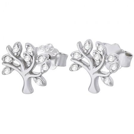 Piękne kolczyki drzewka na sztyft ze srebra próby 925 z cyrkoniami.
