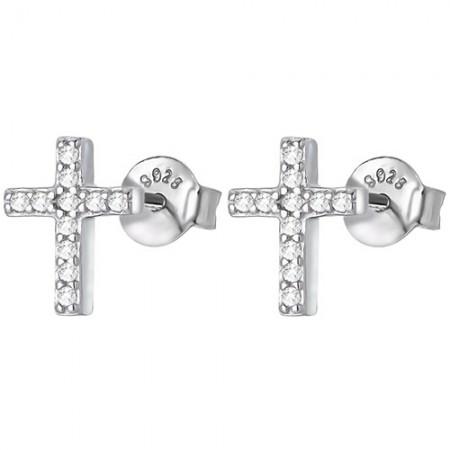 Piękne kolczyki krzyżyki na sztyft ze srebra 925 z cyrkoniami.